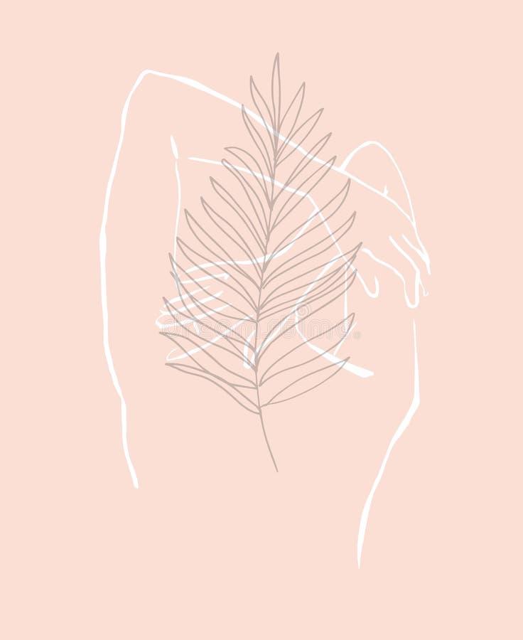 De eenvoudige hand getrokken in vrouw van het lijnsilhouet Moderne minimalismkunst, esthetische contour Het minimalistische silho royalty-vrije illustratie