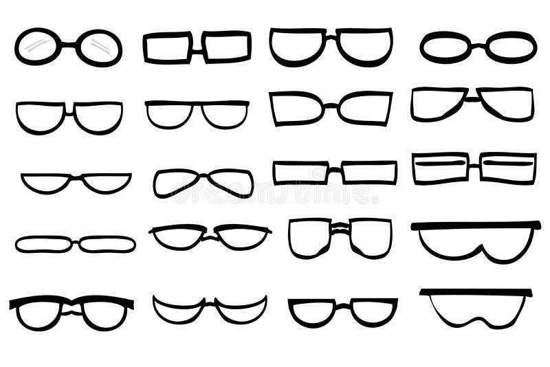 De eenvoudige hand trekt schets divers model van oogglazen vector illustratie