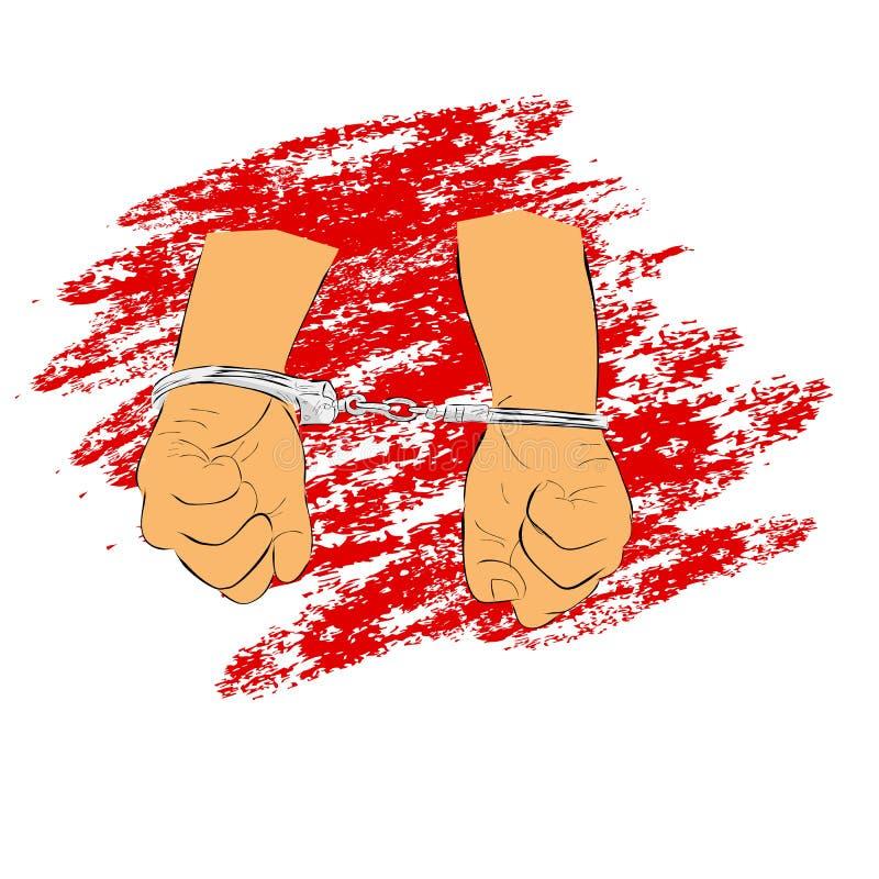 De eenvoudige Hand trekt Schets Vlakke Kleur, Ilustration voor onderarrestatie, mens met Handcuff met de rode achtergrond van de  royalty-vrije illustratie