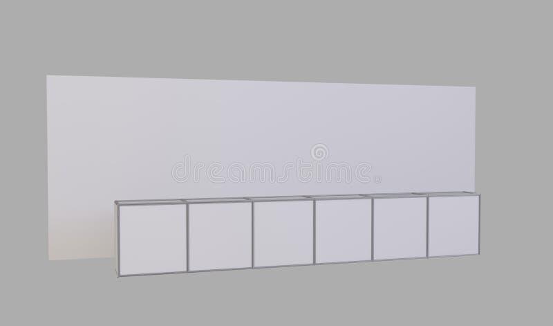 De eenvoudige handel toont cabine 3d illustratie die op witte achtergrond wordt geïsoleerdt royalty-vrije stock afbeeldingen