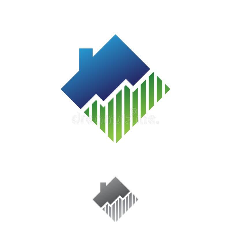 De eenvoudige illustratie van het diagramgrafiek gestalte gegeven huis voor onroerende goederenbedrijf vector illustratie