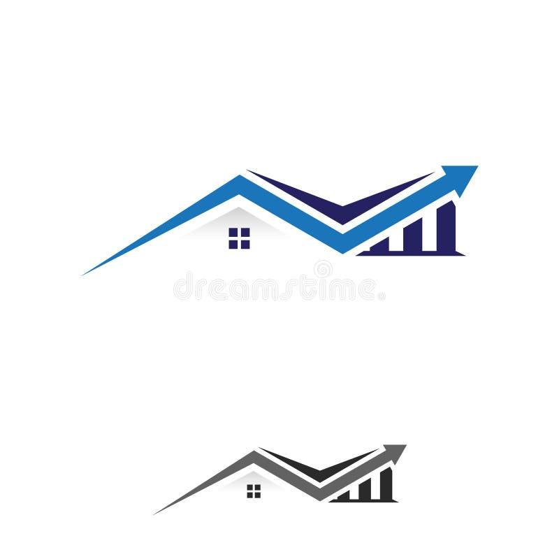 De eenvoudige illustratie van het diagramgrafiek gestalte gegeven huis voor onroerende goederenfinanciën vector illustratie