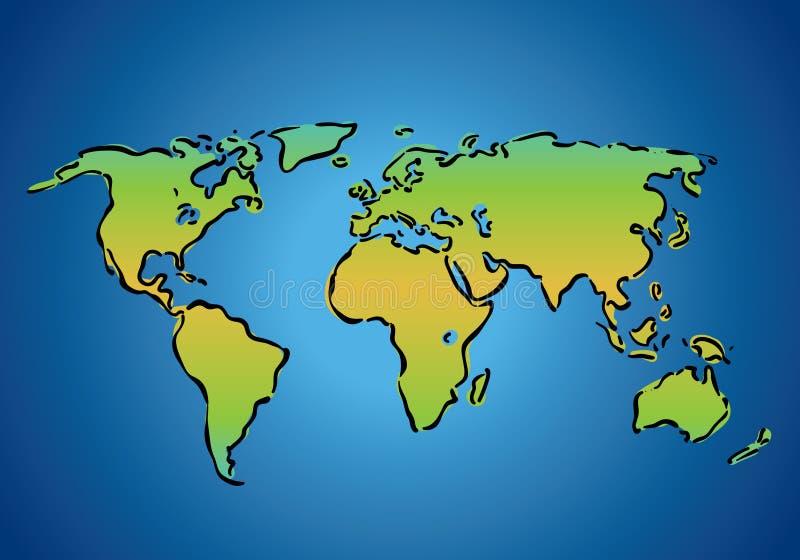 De eenvoudige Kaart van de Wereld stock illustratie