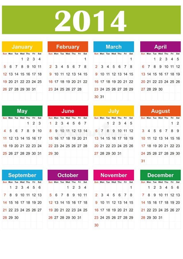 De eenvoudige kalender van 2014
