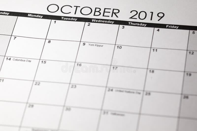 De eenvoudige kalender van Oktober 2019 stock fotografie