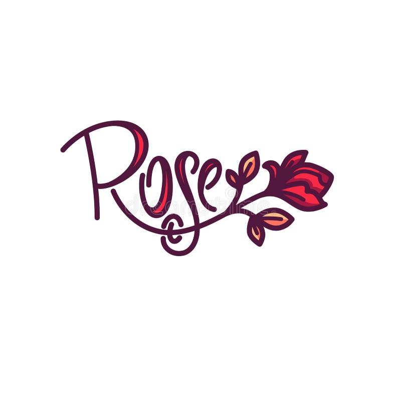 De eenvoudige krabbel Rose Flower Logo van de lijnkunst met het van letters voorzien compositi royalty-vrije illustratie