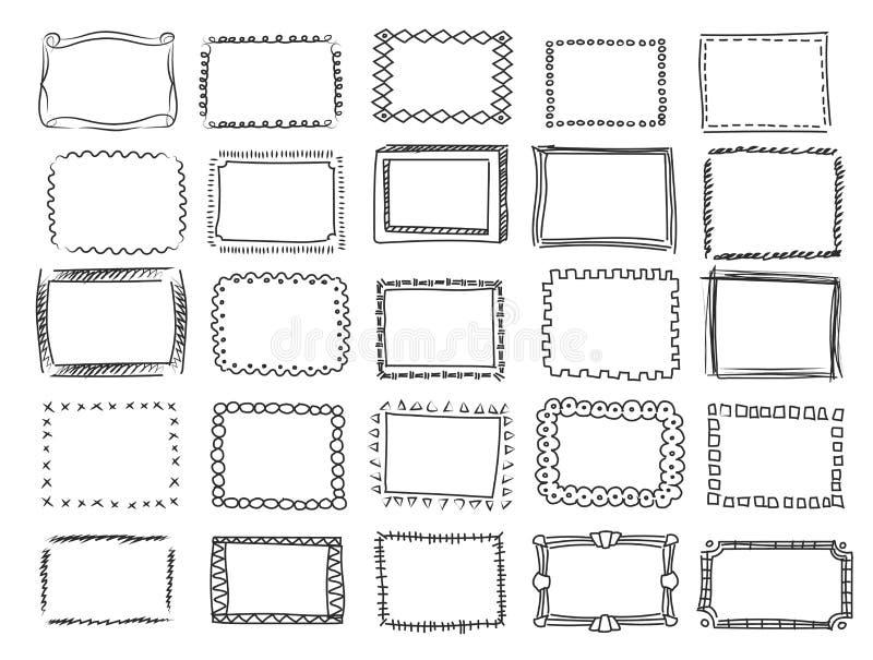 De eenvoudige krabbel, schetst vierkante vectorkaders stock illustratie