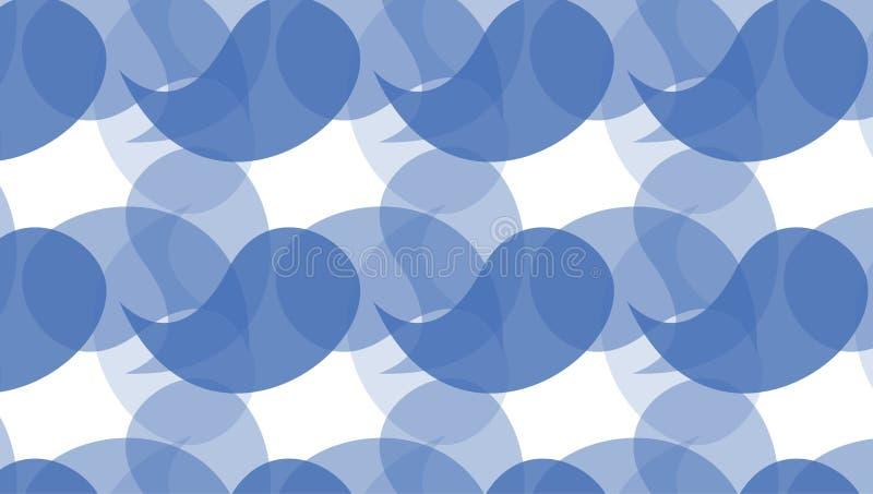 De eenvoudige Moderne abstracte indigo buigt vormenpatroon royalty-vrije illustratie