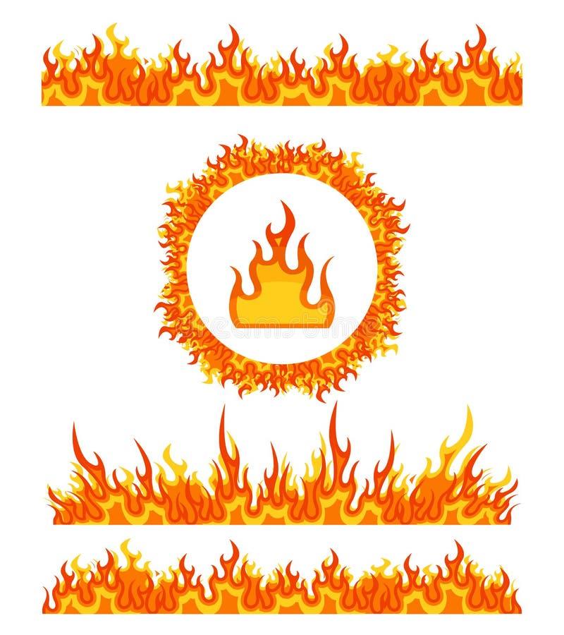 De eenvoudige patronen van de brandgrens en rond kader De vector van vlamgrenzen stock illustratie