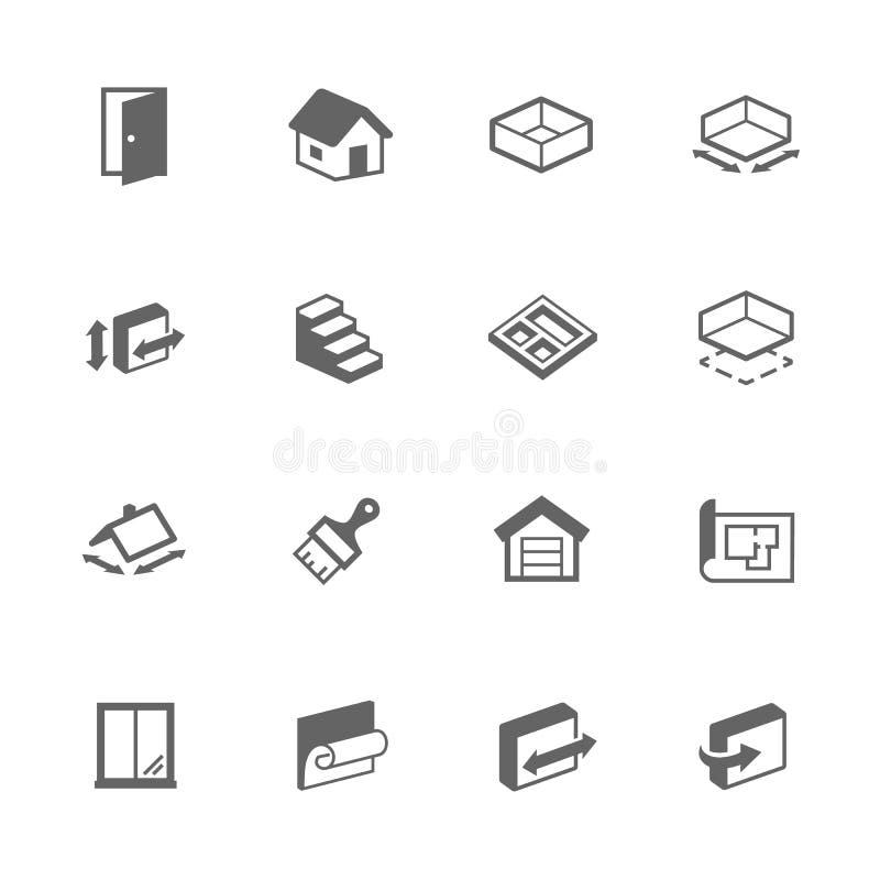 De eenvoudige Pictogrammen van het de Bouwhuis vector illustratie