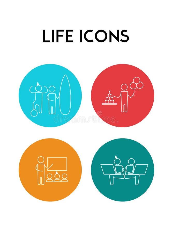 De eenvoudige pictogrammen van de het levensactiviteit Actyvity Vector illustratie vector illustratie