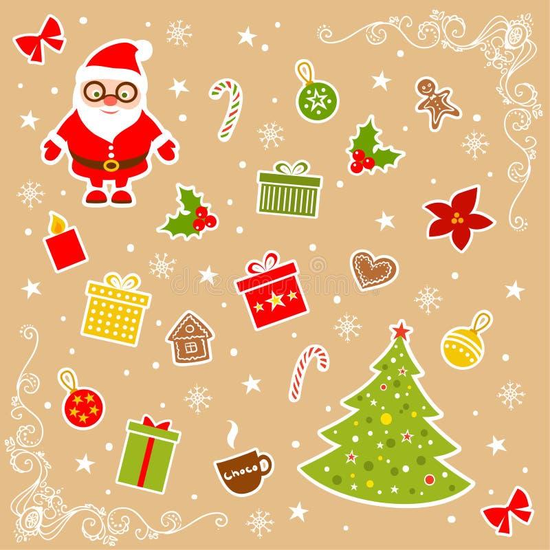De eenvoudige pictogrammen van Kerstmis stock illustratie