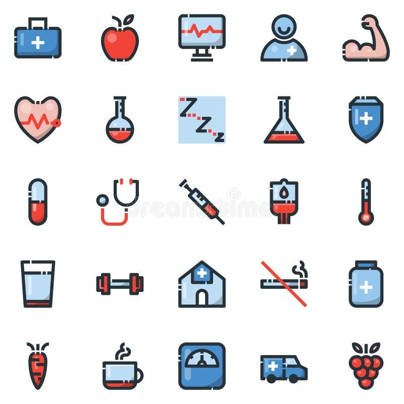 De eenvoudige Reeks Pictogrammen van de Gezondheidsvector Gevulde Lijn, bevat dergelijke Ico stock illustratie