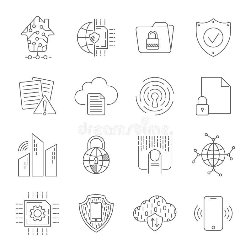 De eenvoudige reeks van abstracte elektronika en digitale technologie bracht vectorlijnpictogrammen met elkaar in verband Editabl vector illustratie