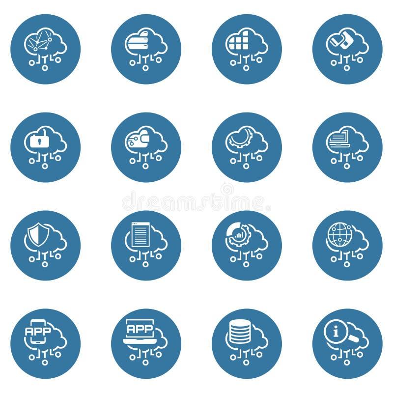 De eenvoudige Reeks van Cloud Computing bracht Vectorlijnpictogrammen met elkaar in verband stock illustratie