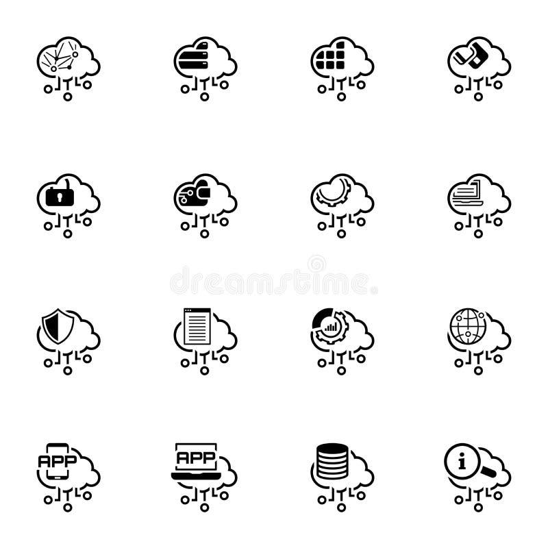 De eenvoudige Reeks van Cloud Computing bracht Vectorlijnpictogrammen met elkaar in verband royalty-vrije illustratie