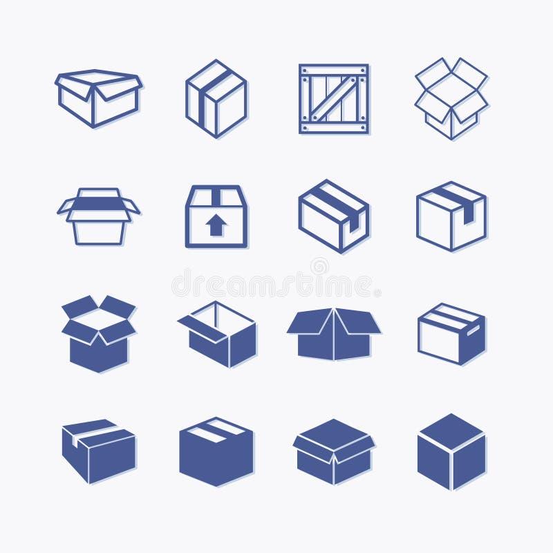 De eenvoudige reeks van doos en de kratten brachten vectorpictogrammen voor uw ontwerp met elkaar in verband royalty-vrije illustratie