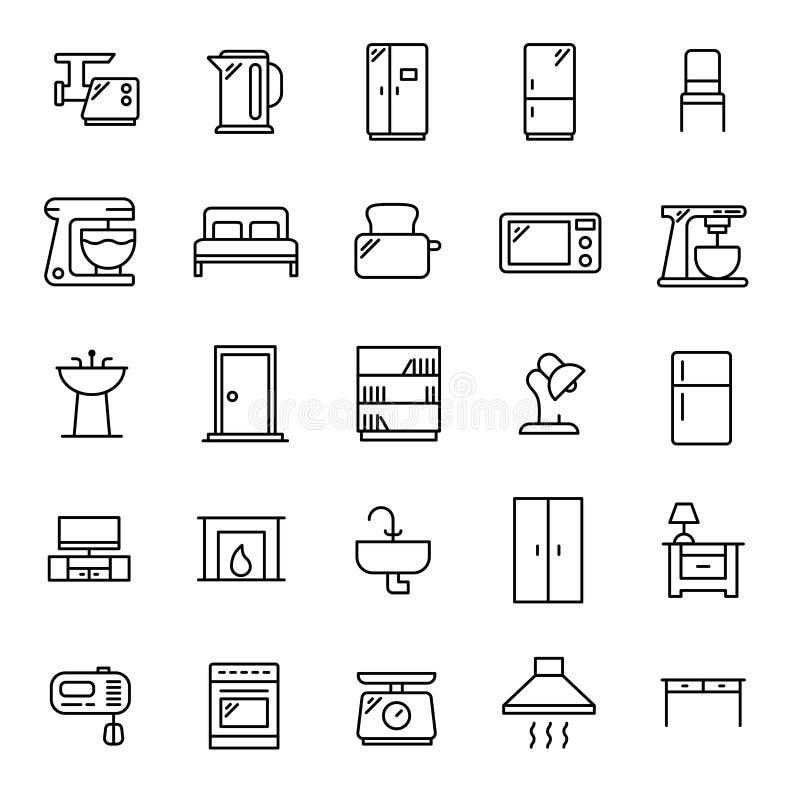 De eenvoudige reeks van meubilair bracht overzichtspictogrammen met elkaar in verband stock illustratie