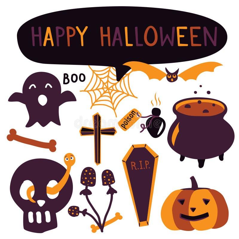 De eenvoudige reeks van stijlhand getrokken Halloween Pompoen, schedel, spook en mystieke elementen voor grafisch ontwerp royalty-vrije illustratie