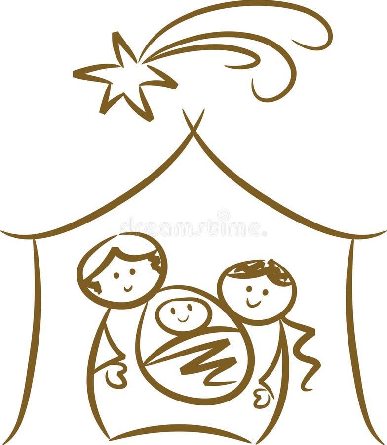 De eenvoudige Scène van de Geboorte van Christus royalty-vrije illustratie