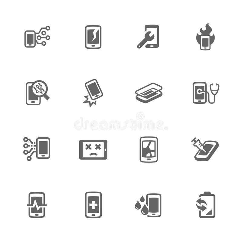 De eenvoudige Slimme Pictogrammen van de Telefoonreparatie stock illustratie