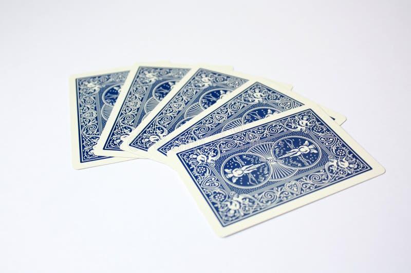 De eenvoudige speelkaarten van het Pook blauwe casino stock fotografie