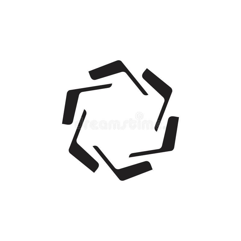 De eenvoudige vector van het de wervelingsembleem van cirkel geometrische pijlen royalty-vrije illustratie