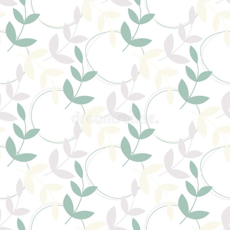 De eenvoudige vector verlaat naadloos patroon Pastelkleur gekleurde takjes met abstracte cirkels op witte achtergrond stock illustratie