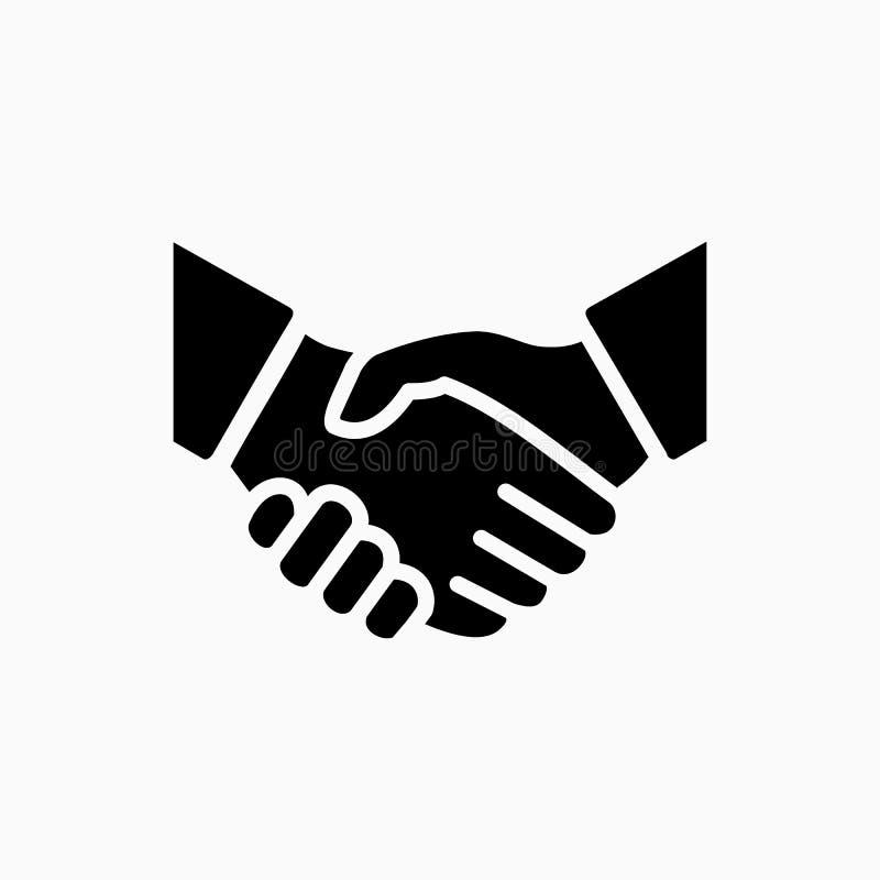 De eenvoudige vectorillustratie van het handdrukpictogram De overeenkomst of de partner gaat akkoord stock illustratie