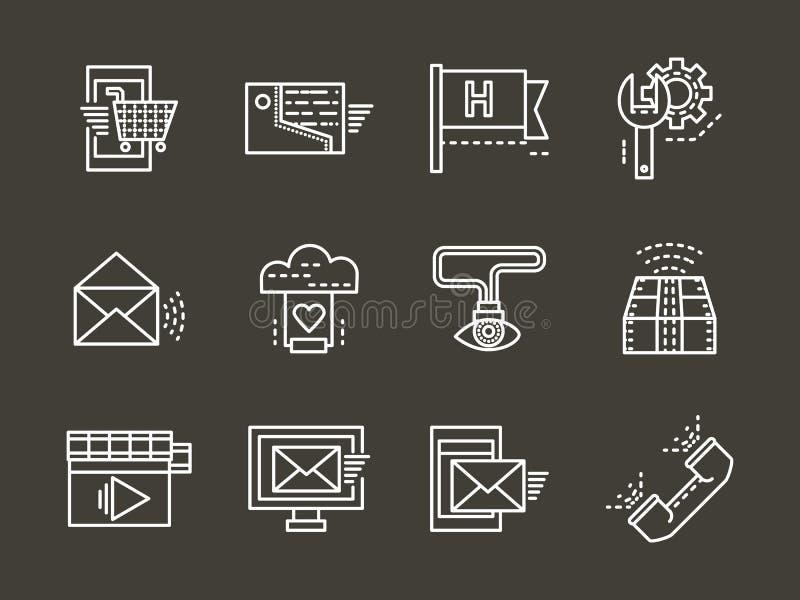 De eenvoudige witte geplaatste pictogrammen van de lijn online steun stock illustratie