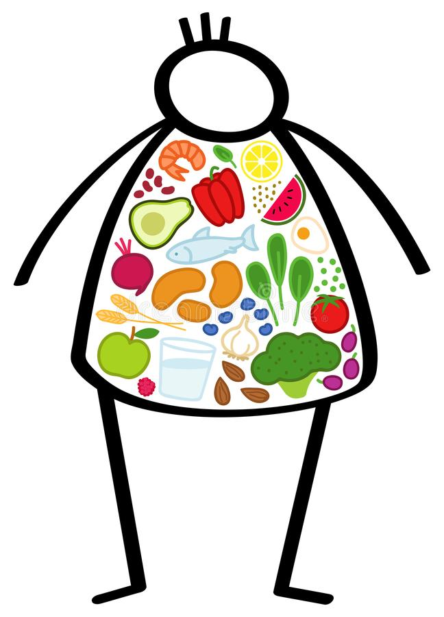 De eenvoudige zwaarlijvige mens van het stokcijfer op een dieet, lichaam vulde met gezond voedsel, kleurrijke groenten, die zijn  royalty-vrije illustratie