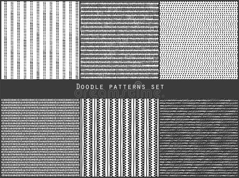 De eenvoudige zwart-witte krabbel strijkt punten en geplaatste driehoeken geometrische gestreepte naadloze patronen, vector vector illustratie