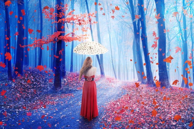 De eenzame vrouw die van het fantasiebeeld met paraplu in bos in fee dromerig koninkrijk lopen stock fotografie
