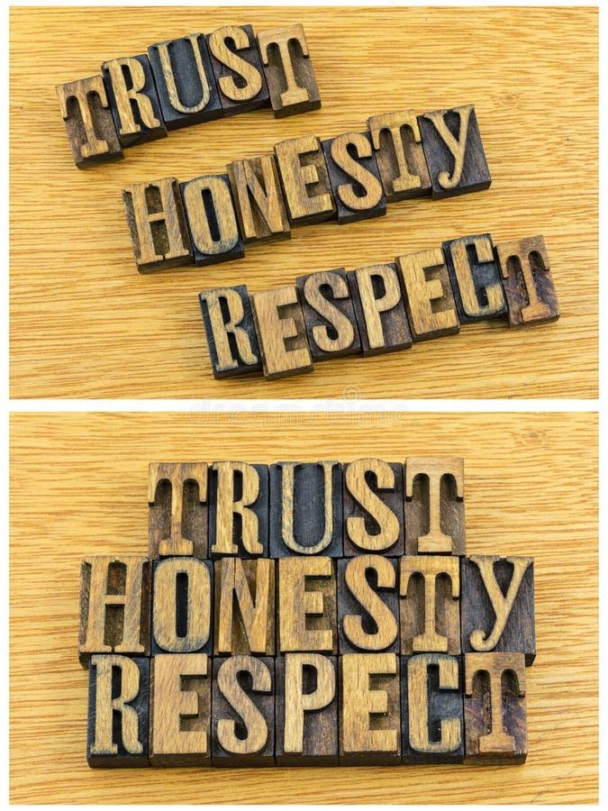 De eerbiedletterzetsel van de vertrouwenseerlijkheid stock foto's