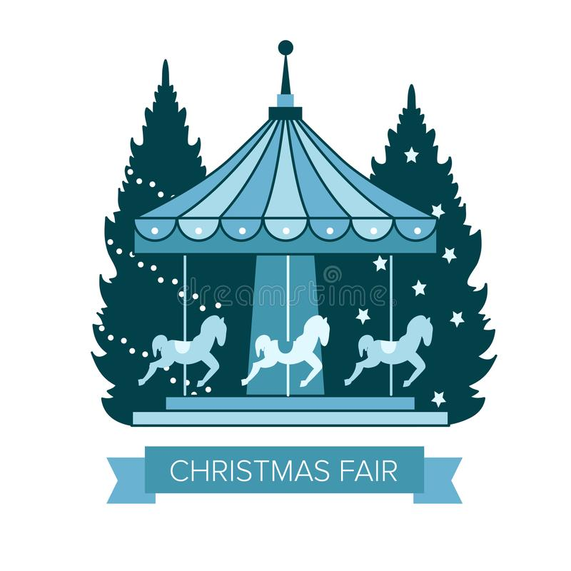 De eerlijke markt van de winterkerstmis, Gelukkig Nieuw jaar en de stad van Kerstmiseuropa, carrousel met paarden, Kerstbomen, st vector illustratie