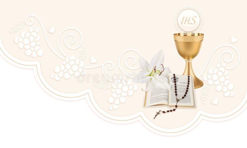 De eerste Heilige Communie, een illustratie met een kop, een gastheer, een bijbel, een lelie en een rozentuin vector illustratie