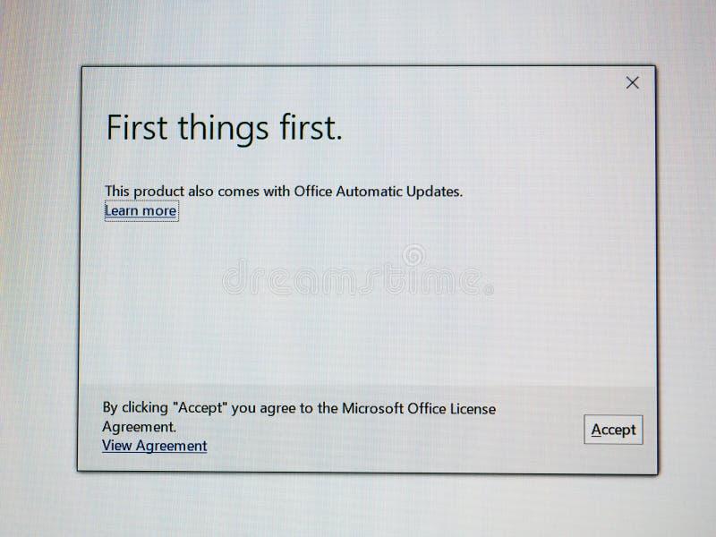 De eerste installatie van dings eerste Microsoft Office royalty-vrije stock afbeelding