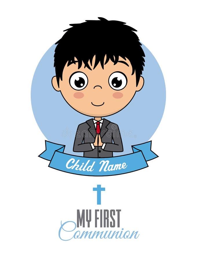 De eerste jongen van de Heilige Communie vector illustratie