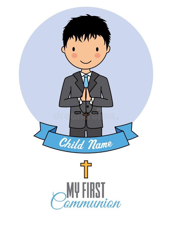 De eerste jongen van de Heilige Communie stock illustratie