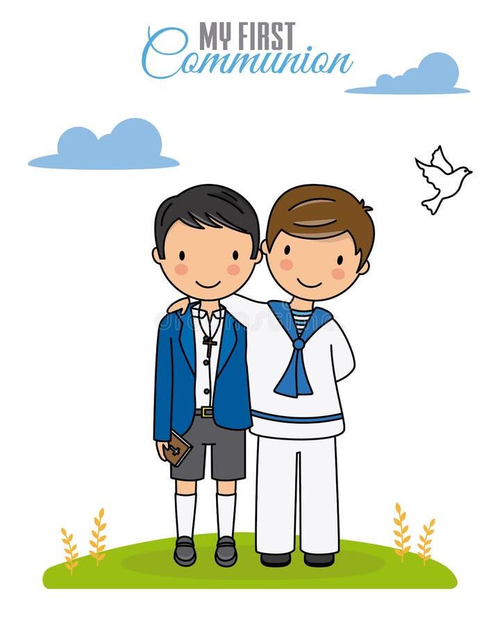 De eerste Kaart van de Heilige Communie vector illustratie