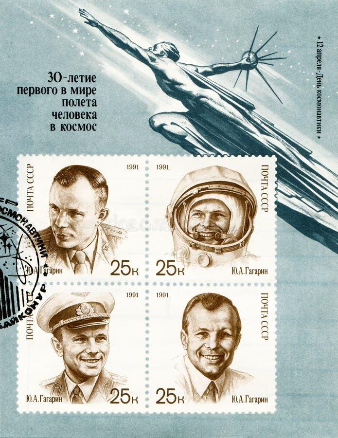 De eerste kosmonaut van de wereld is Yuri Alekseyevich Gagarin stock afbeelding