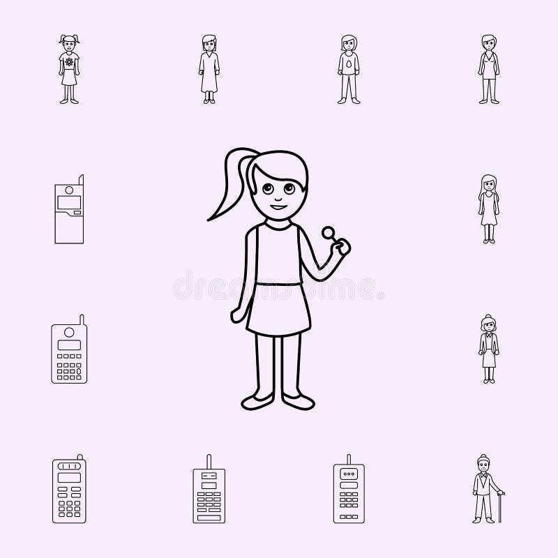 de eerste periode van het pictogram van meisjes\ 's kinderjaren Voor Web wordt geplaatst dat en het mobiele algemene begrip van g royalty-vrije illustratie