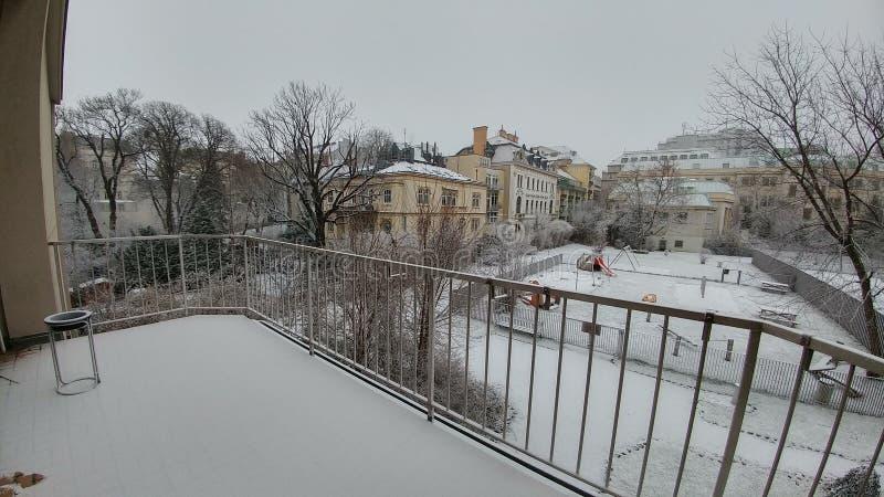 de eerste sneeuw 2016 van Wenen royalty-vrije stock afbeeldingen