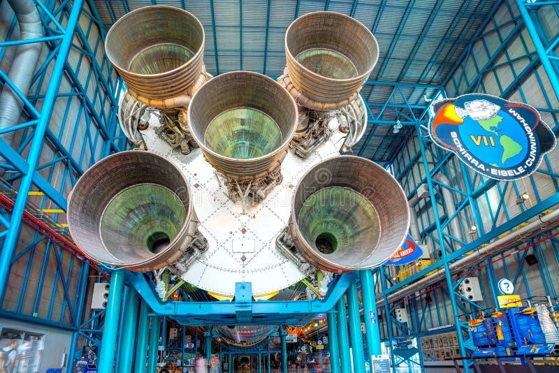 De eerste stadiummotoren van Saturn 5 raket royalty-vrije stock foto