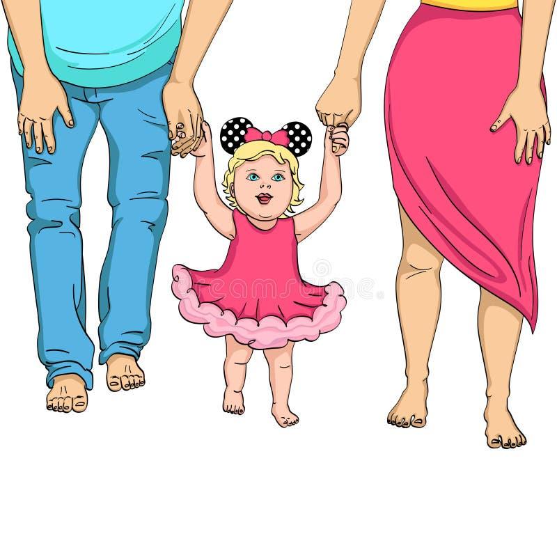 De eerste stappen van het kind Steun voor ouders Voorwerp op witte vectorillustratie als achtergrond vector illustratie