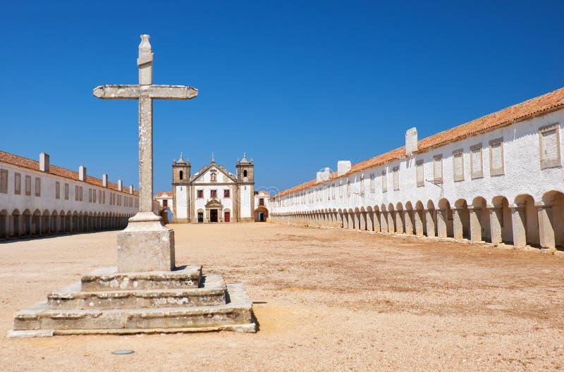 De 15de eeuw Onze Dame van de Kaap of Nossa Senhora do Cabo Church dichtbij kaap Espichel, Portugal stock foto's