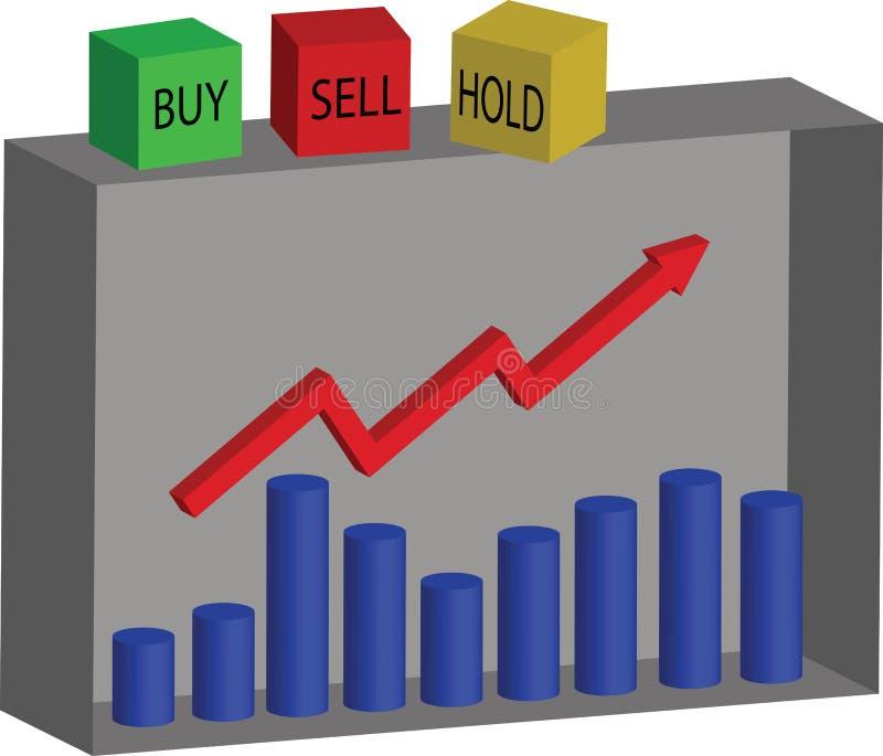 De Effectenbeurs, koopt, verkoopt of houdt royalty-vrije illustratie