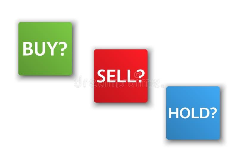 De effectenbeursopties, drie bedrijfsvarianten, kopen, verkopen, houden royalty-vrije illustratie