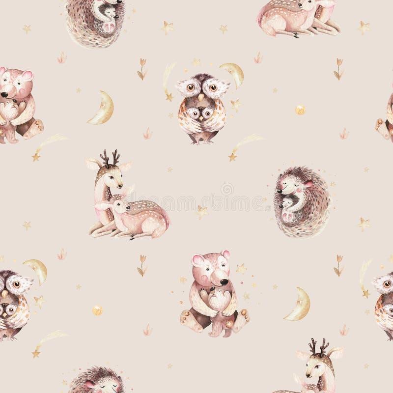De egel en de moeder de beeldverhaaluilen van de waterverfbaby, dragen en het herten naadloze patroon Bos leuk uilhand getrokken  stock illustratie