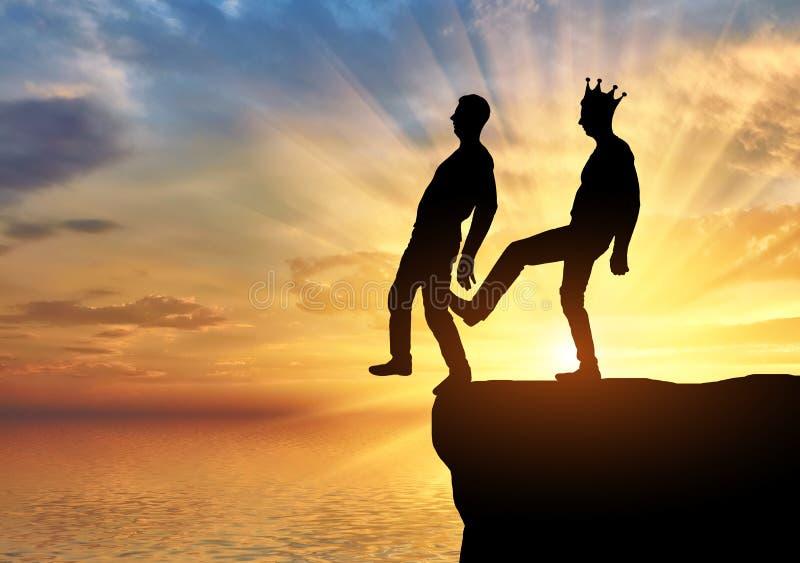 De egoïstische mens met een kroon duwt de voet van zijn partner in het kloof stock fotografie